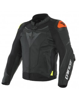 Dainese VR46 Victory Leather Jacket Black/Fluo-Yellow