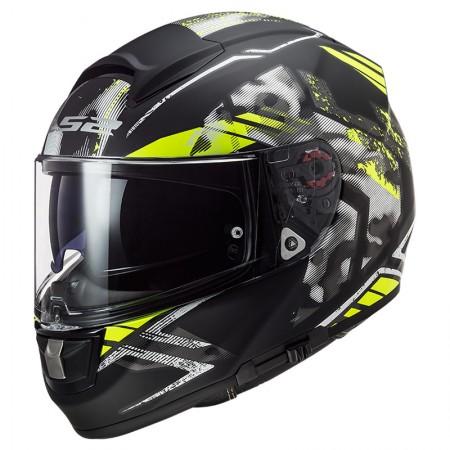 LS2 FF397 Vector HPFC Evo Swipe Matt Black HV Yellow
