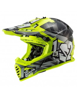 LS2 MX437 Evo Crusher Black HV Yellow