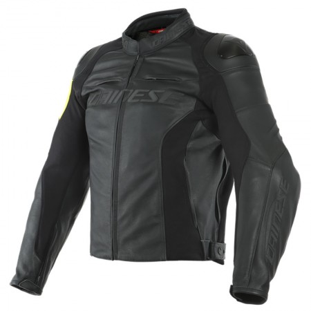 Dainese VR46 Pole Position Leather Jacket Black/Fluo-Yellow