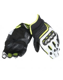 Dainese Carbon D1 Short Gloves Black/White/Yellow Fluo