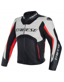 Dainese Misano D-Air Jacket Leather White/Black/Red-Fluo