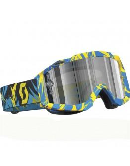 Scott Μάσκα Hustle MX Strobe Blue/Yellow Lens Silver Chrome AFC Works