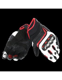 Dainese Carbon D1 Short Gloves Black/White/Lava Red