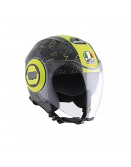 AGV Fluid Top Ibiscus Gunmetal/Yellow