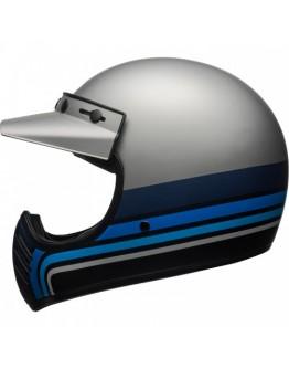 Moto 3 Stripes Matt Silver/Black/Blue