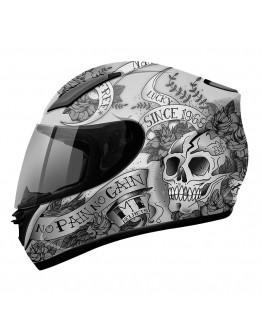 Revenge Skull & Roses Matt Silver/Athracite/Black